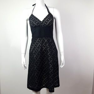 WHBM Black Eyelet Detail Dress